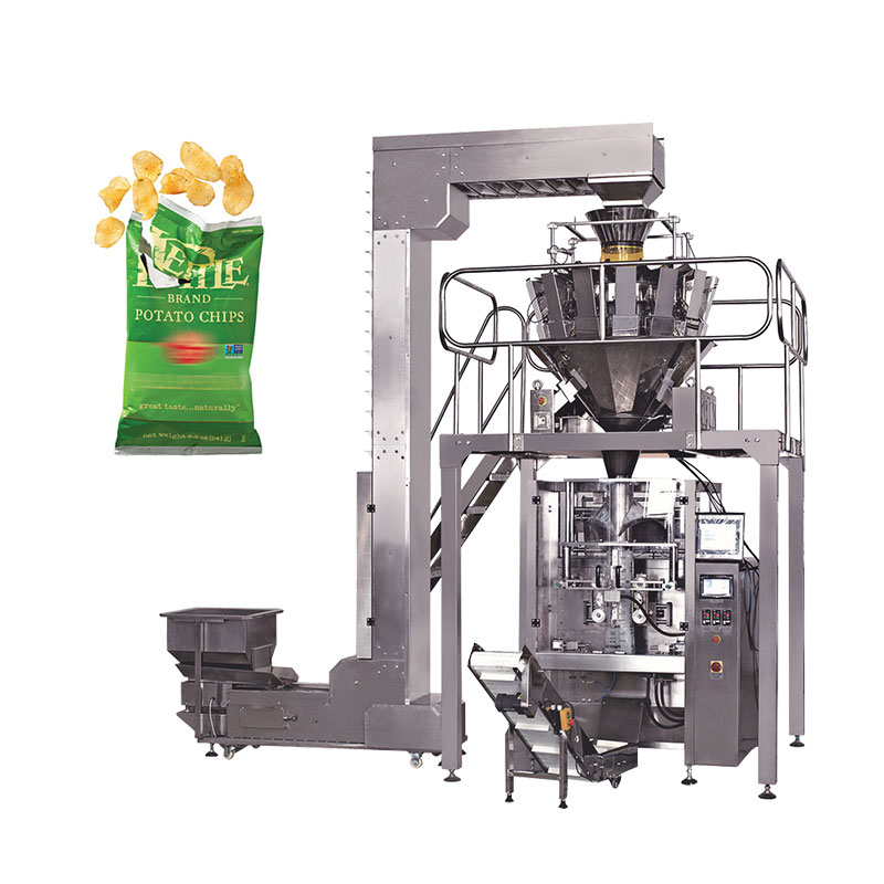 Automatic banana chips / potato chips packing machine with nitrogen