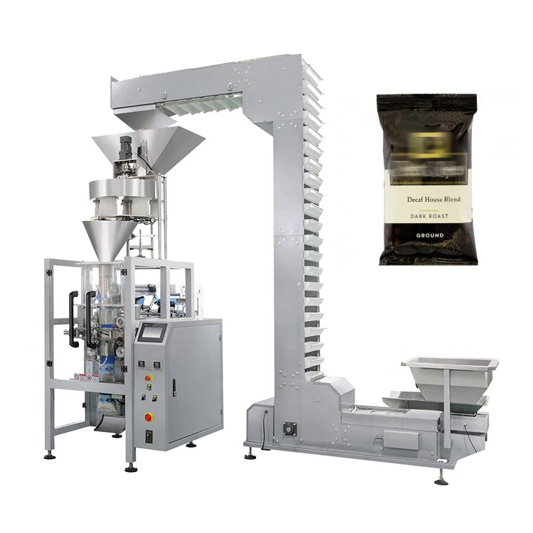 Vertical fully automatic roasted coffee beans packing machine with measuring cups