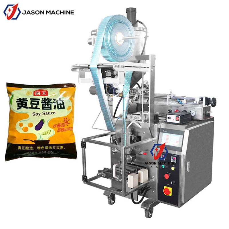 Back sealing beverage soup soy sauce liquid filling packing machine for sachet bag