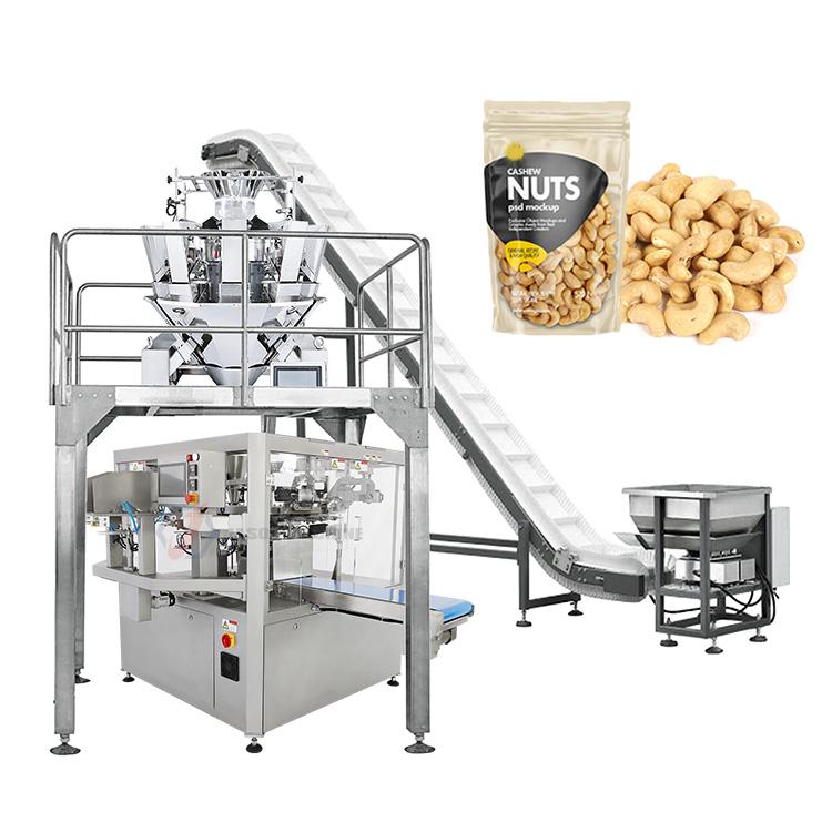 High efficiency automatic cashew nut peanut zipper premade bag packaging machine price